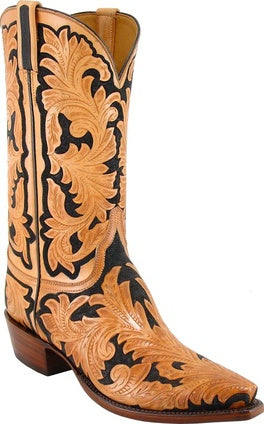 Lucchese Classic Men's Natural and Black Floral Hand Tooled Boot L1320
