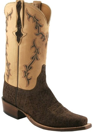 Lucchese Classic Men's Chocolate and Antique Saddle Burnished Hippo and Jersey Calf Boot L1423