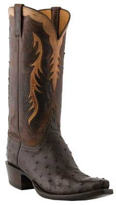 Lucchese Classic Men's Chocolate Burnished Full Quill Ostrich and Mad Dog Goat Boot L1440