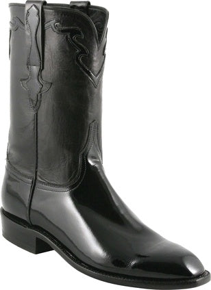 Lucchese Classic Men's Black Patent Calf and Kangaroo Boot L9576 - Saratoga Saddlery & International Boutiques
