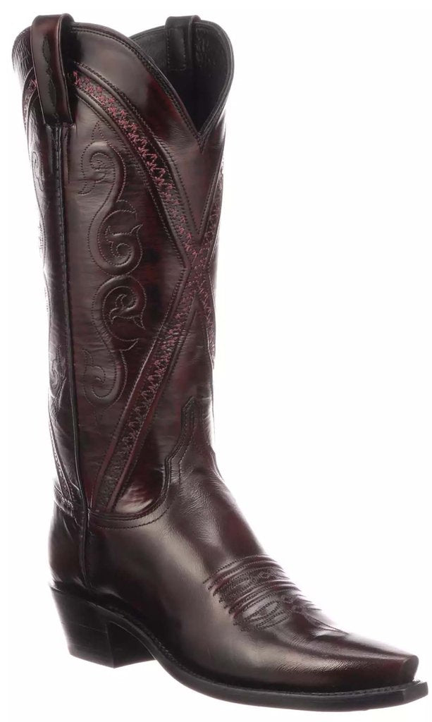 Lucchese Women's Darlene Black Cherry Goat Boot