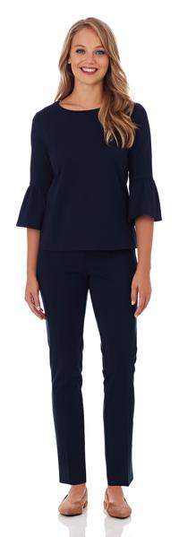 Jude Connally Lucia Ponte Slim Ankle Length Pant in Dark Navy