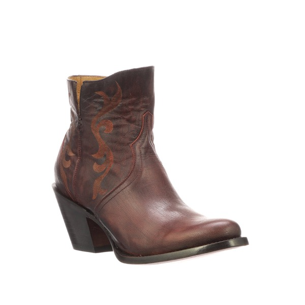 9df23225a50 Lucchese Women's Alondra Black Cherry Etched Ankle Boot - M6015