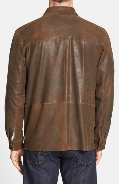 MISSANI Military Shirt Leather Jacket