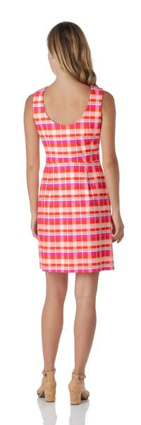Jude Connally Mary Pat Dress in Festival Plaid Coral - Saratoga Saddlery & International Boutiques