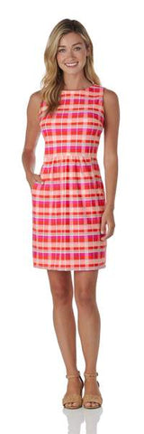 Jude Connally Beth Dress in Summer Plaid Aqua