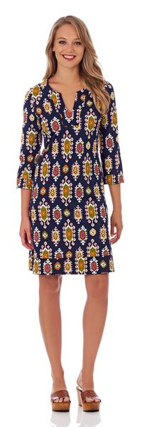 Jude Connally Megan Tunic Dress in Medallion Navy
