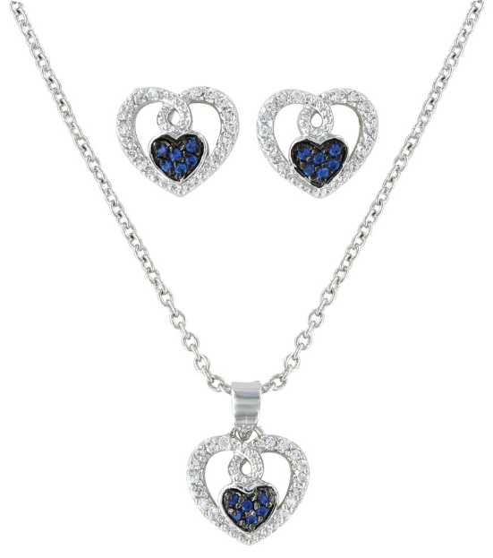 Montana Silversmiths Blue CZ Hearts Jewelry Set JS3029 - Saratoga Saddlery & International Boutiques
