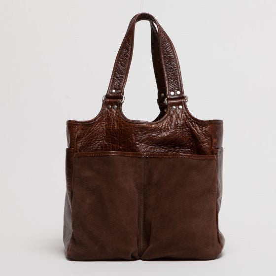 Moore & Giles Belle Picnic Tote in Nubuck Bison Chocolate