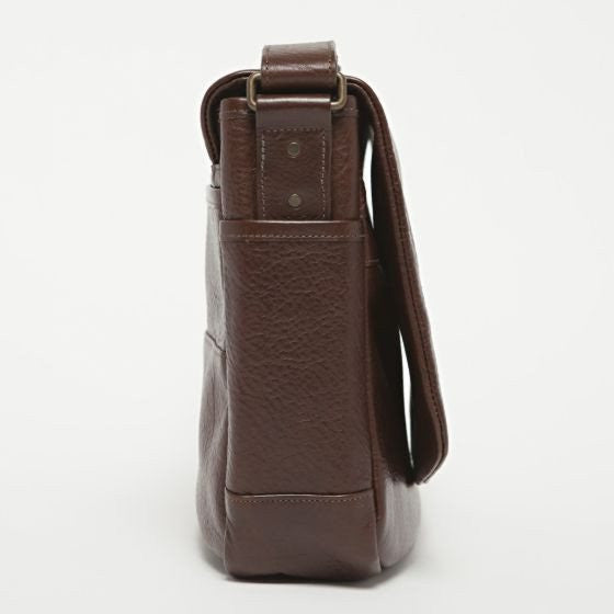 Moore & Giles Sackett Messenger Bag in American Bison - Saratoga Saddlery & International Boutiques