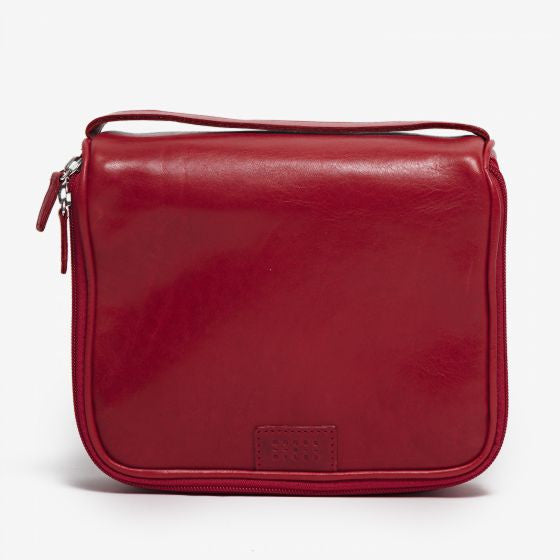 Moore & Giles Travel Cosmetic Bag Beauty Bag red leather