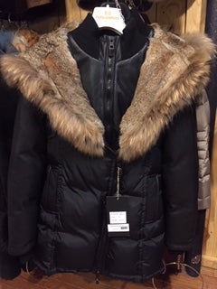 Nicole Benisti Down Parka with Full Fur Lined Hood & Leather Sleeves - JK8037 - ONE LEFT!