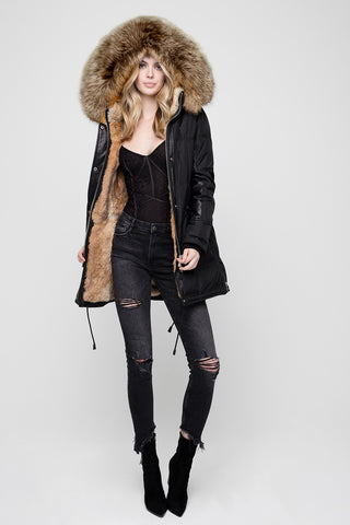 Gimo 5D190 Women's Down and Fur Jacket in Black