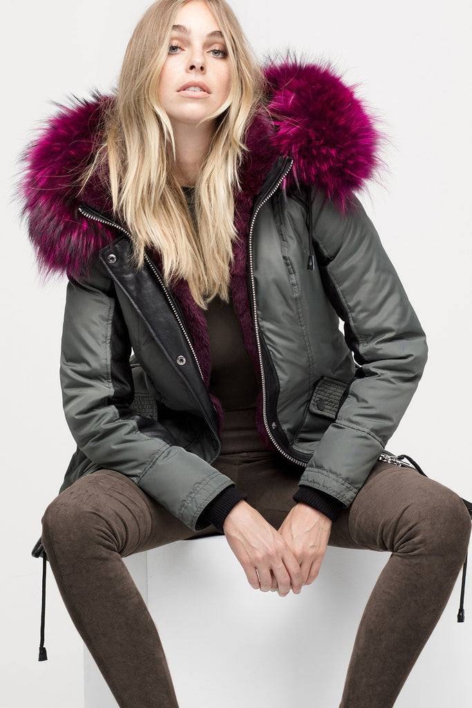 Nicole Benisti Chelsea Parka in Military with Hot Pink Fur
