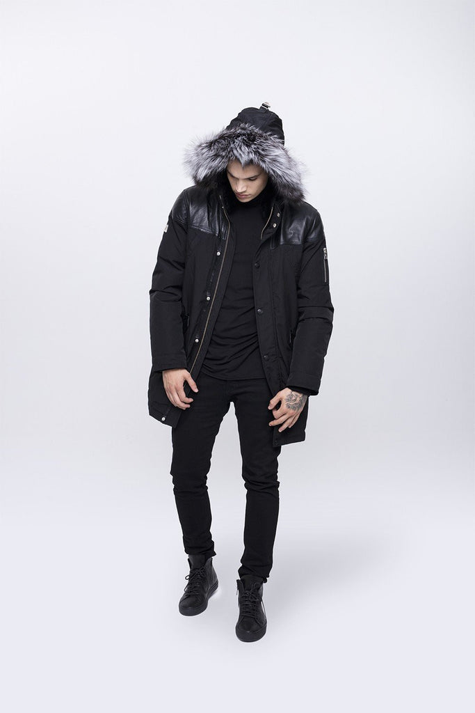 Nicole Benisti Men's Black Venice Down Coat in Black with Silver Fox Fur Hood