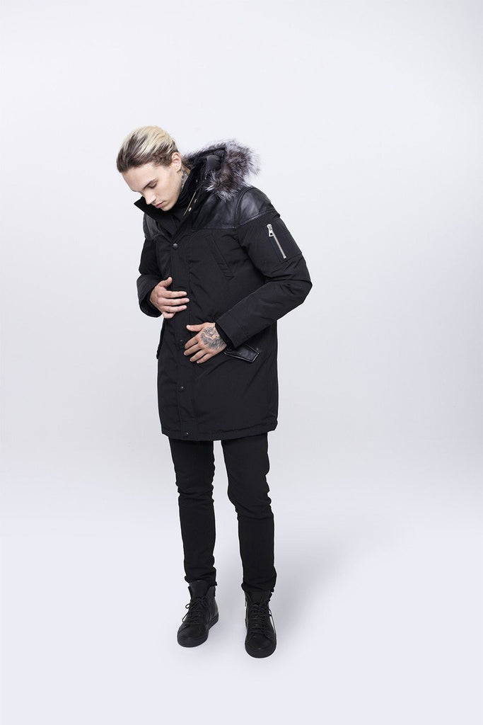 Nicole Benisti Men's Black Venice Premium Down Fill Coat in Black with Silver Fox Fur Hood
