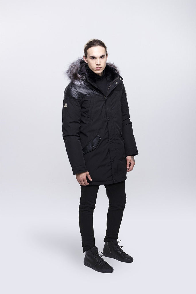 Nicole Benisti Men's Black Venice Down Fashionable Coat in Black with Silver Fox Fur Hood
