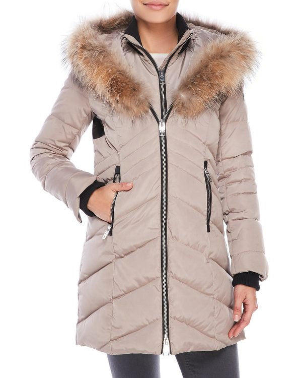 Nicole Benisti Women's JK9061 Roxy Jacket in Pebble with Natural Fur