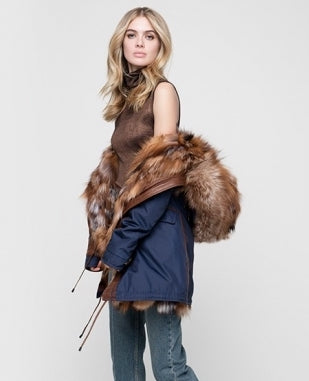 Nicole Benisti Navy Belleville Reversible Parka Fully Lined in Removable Fox Fur Lining - ONE LEFT!