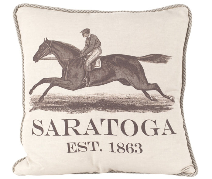 Ox Bow Saratoga Sunbrella Corded Pillow in Red Made in the USA - Saratoga Saddlery & International Boutiques