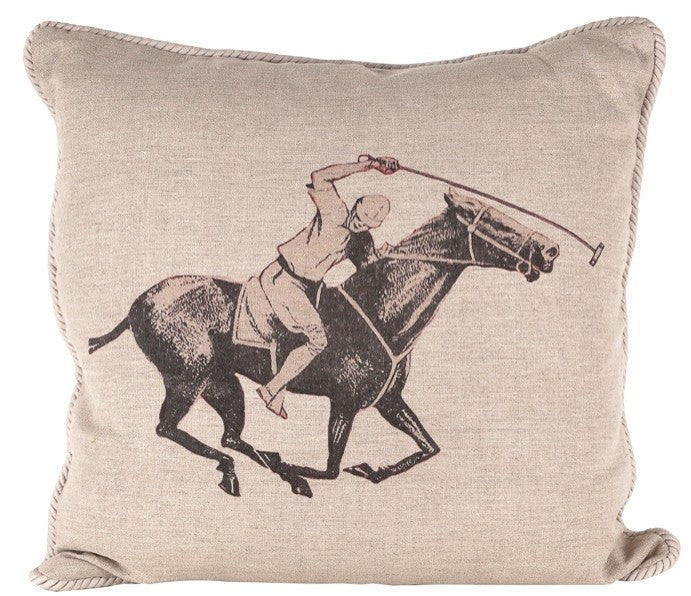 Ox Bow Decor Polo Player Down Throw Pillow