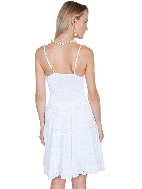 Scully Cotton Short Dress PSL173 in white (back)