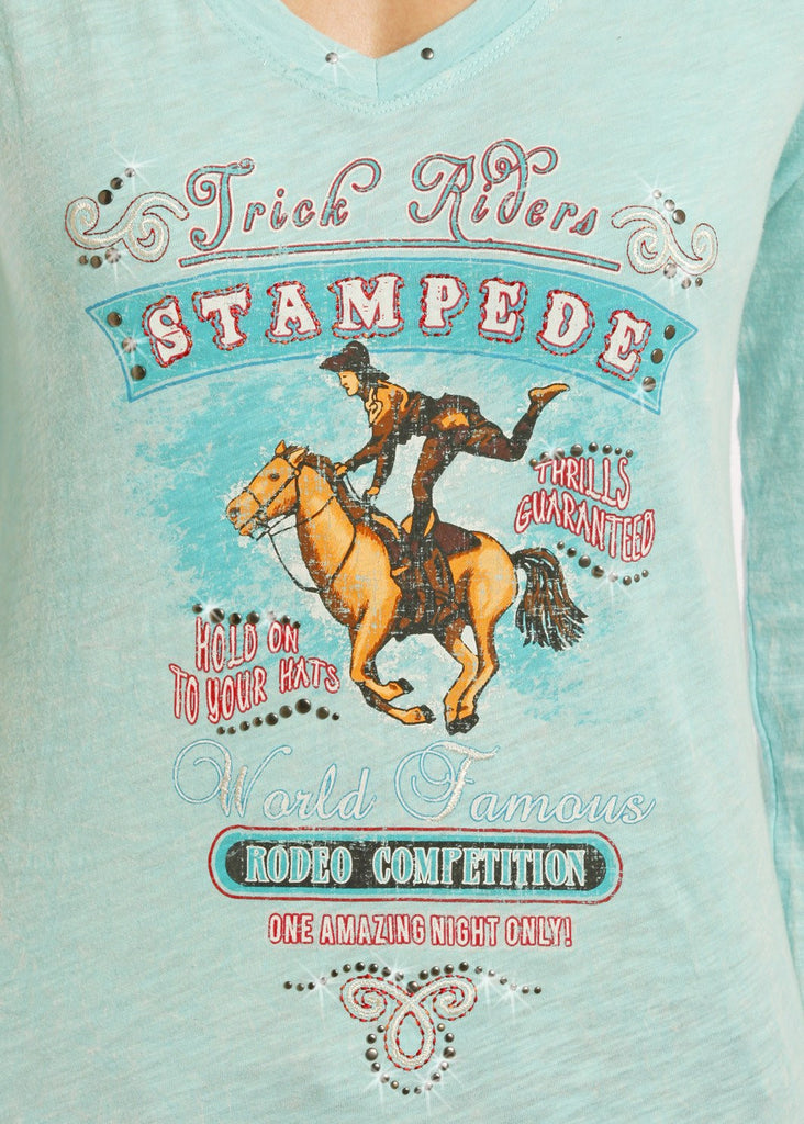 Panhandle Slim Women's Stampede Long Sleeve Shirt in Aqua