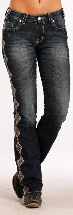 Rock & Roll Cowgirl Women's Embroidered Boot Cut Jeans W1-8472