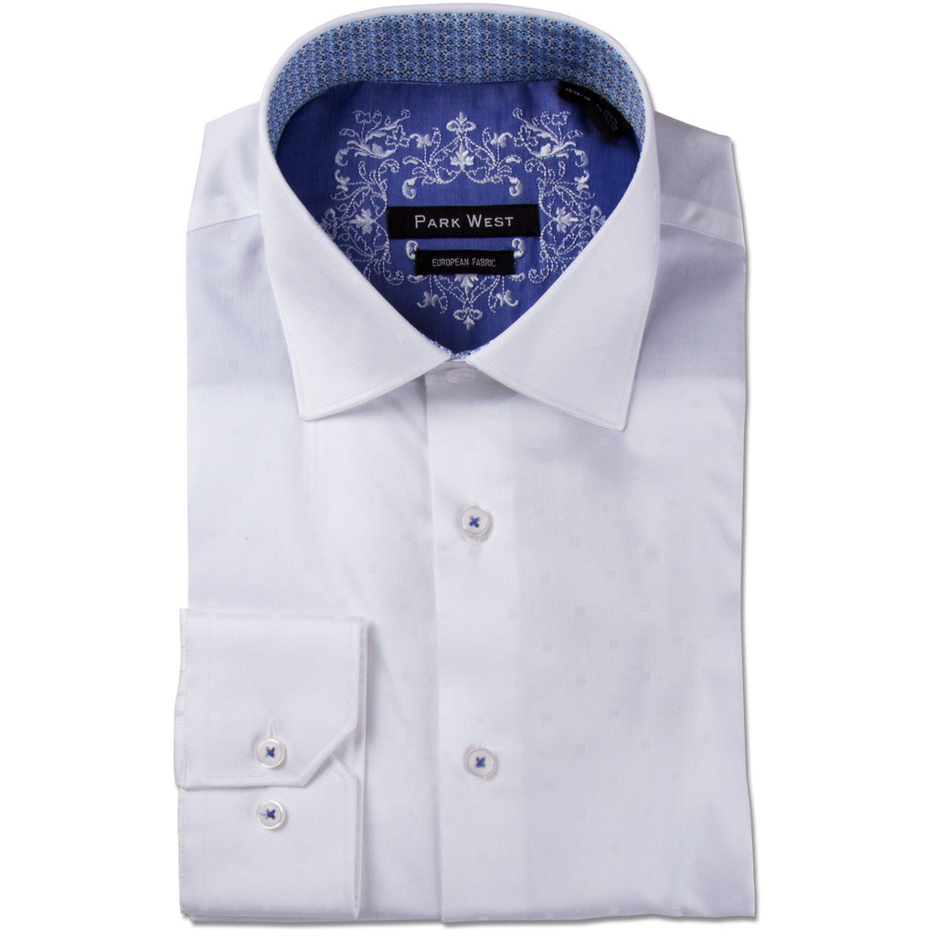 Park West Men's Luther Box Dobby Dress Shirt in White