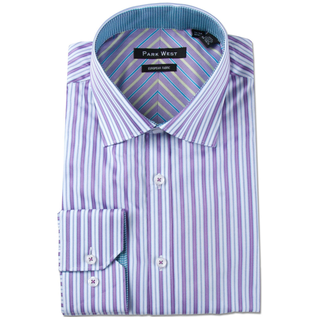 Park West Men's Stradler Satin Stripe Dress Shirt in Purple