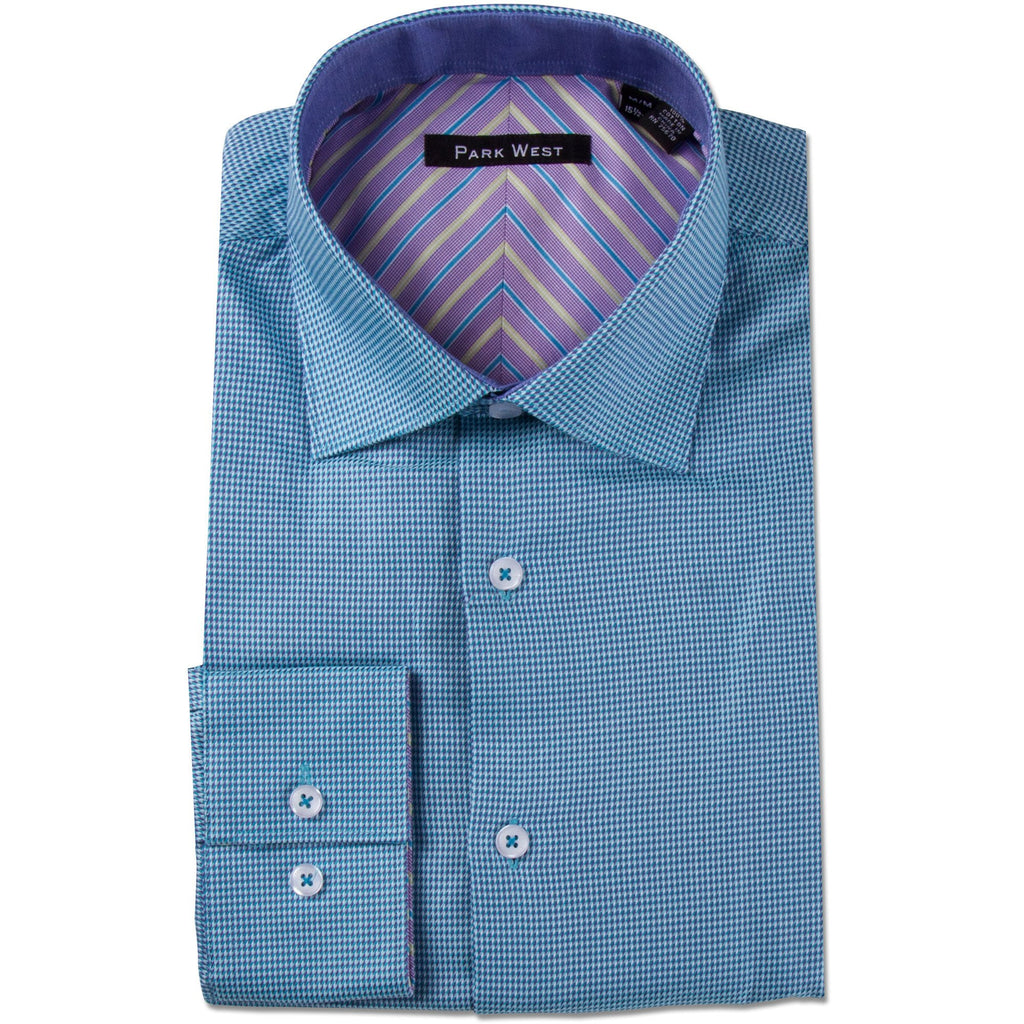 Park West Men's Viceroy Houndstooth Dress Shirt in Teal