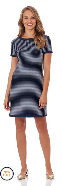 Jude Connally Parker T-Shirt Dress in Pencil Stripe Navy