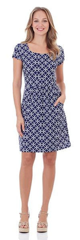 Jude Connally Alison Shift Dress in Classic Stripe Navy White