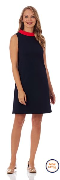 Jude Connally Piper Ponte Shift Dress in Dark Navy with Tangerine