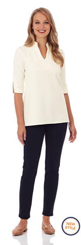 Jude Connally Whitney Ponte Tunic Top in Cream
