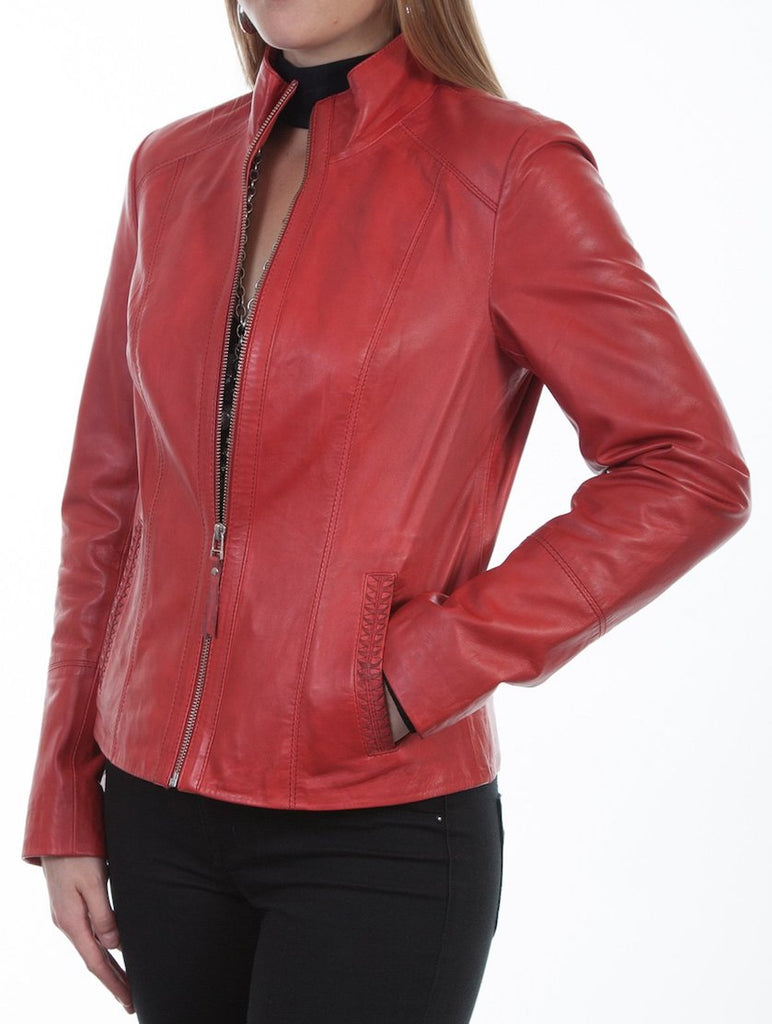 Scully Women's Zip Front Lambs Leather Jacket in Red Style L5.