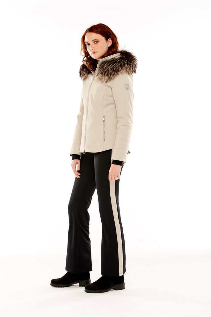 M. Miller Tori Insulated Soft Shell Jacket with Winterfrost Hoodtrim Putty Stretch 50% OFF ON SALE! - Saratoga Saddlery & International Boutiques