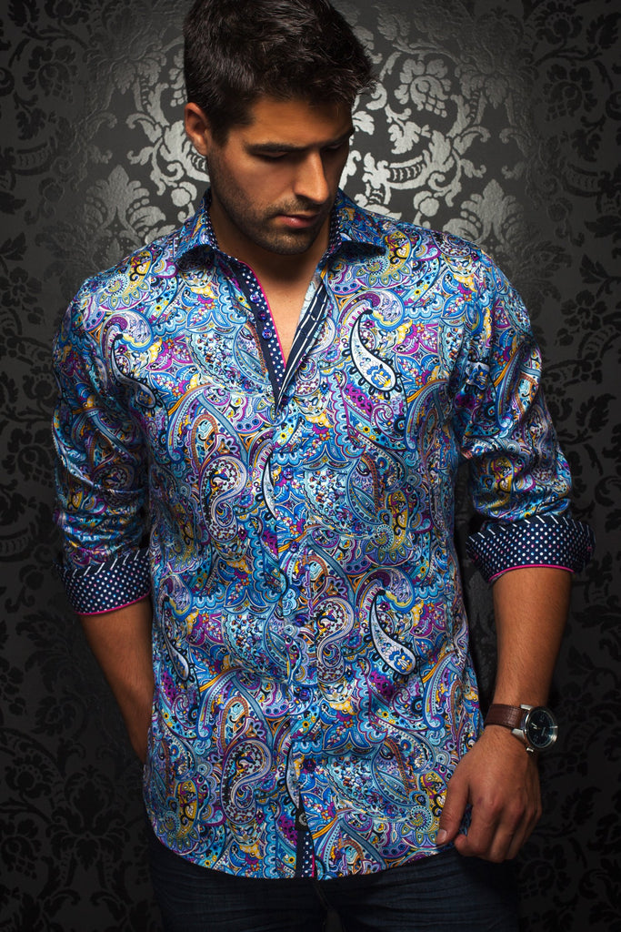 Au Noir St. Lucia Men's Dress Shirt in Blue Multi