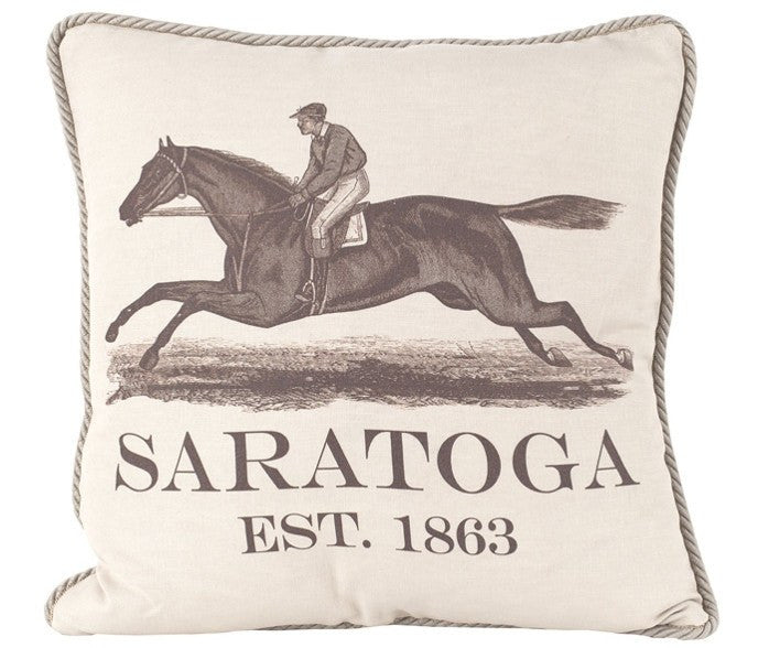 Saratoga Springs Racing Pillow. Handmade in the USA Free Shipping - Saratoga Saddlery & International Boutiques