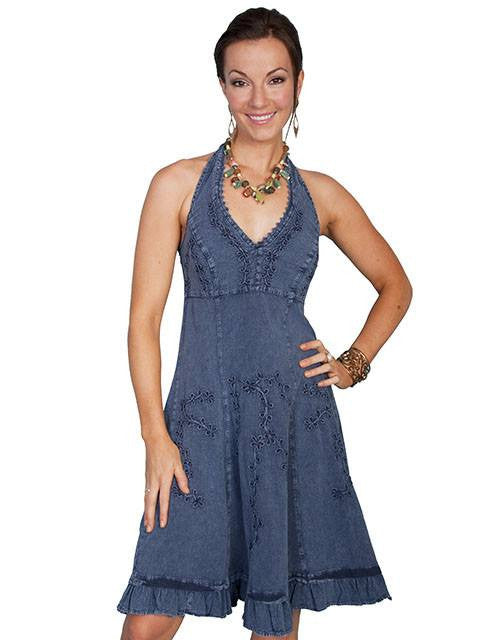 Scully Cantina Halter Dress in Blue - Saratoga Saddlery & International Boutiques