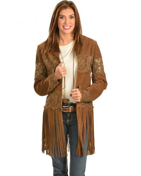Scully L124 Women's Suede Coat with Long Fringe