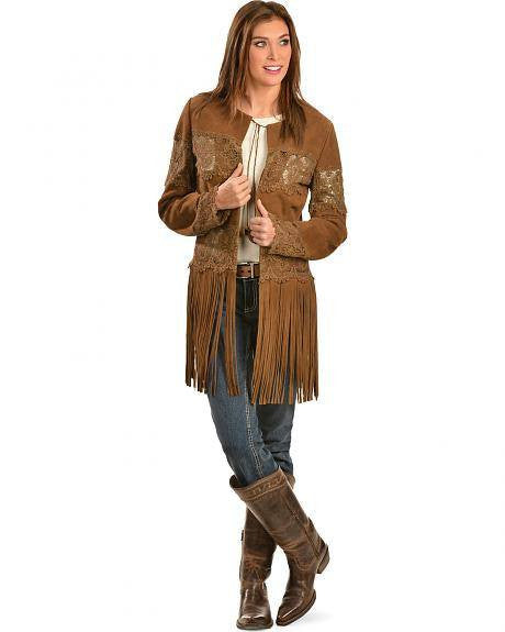 Scully L124 Women's Suede Coat with Long Fringe Brown
