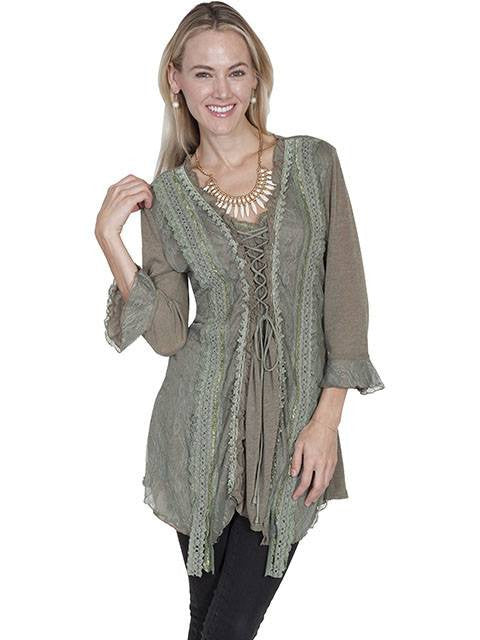 Scully Lace Front Knit Top in Sage - Saratoga Saddlery & International Boutiques