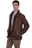 Scully Men's Leather Car Coat with Shearling - Buffed Lamb Brown