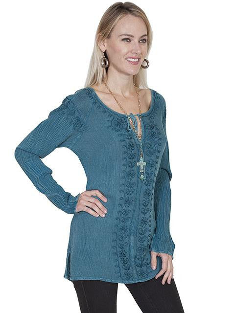 Scully Women's Embroidered Tie Front Blouse in Teal