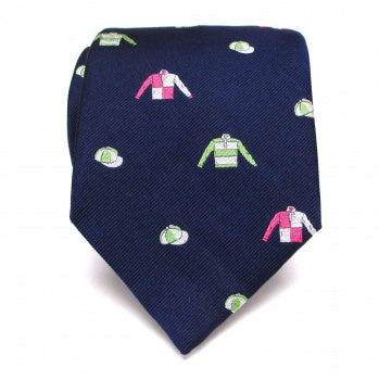 Seaward & Stearn Handmade Woven Silk Tie - Jockey Silks - Navy