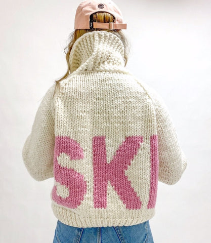 GO GO Knit Sweater SKI Pullover in White Pink Handmade in Canada