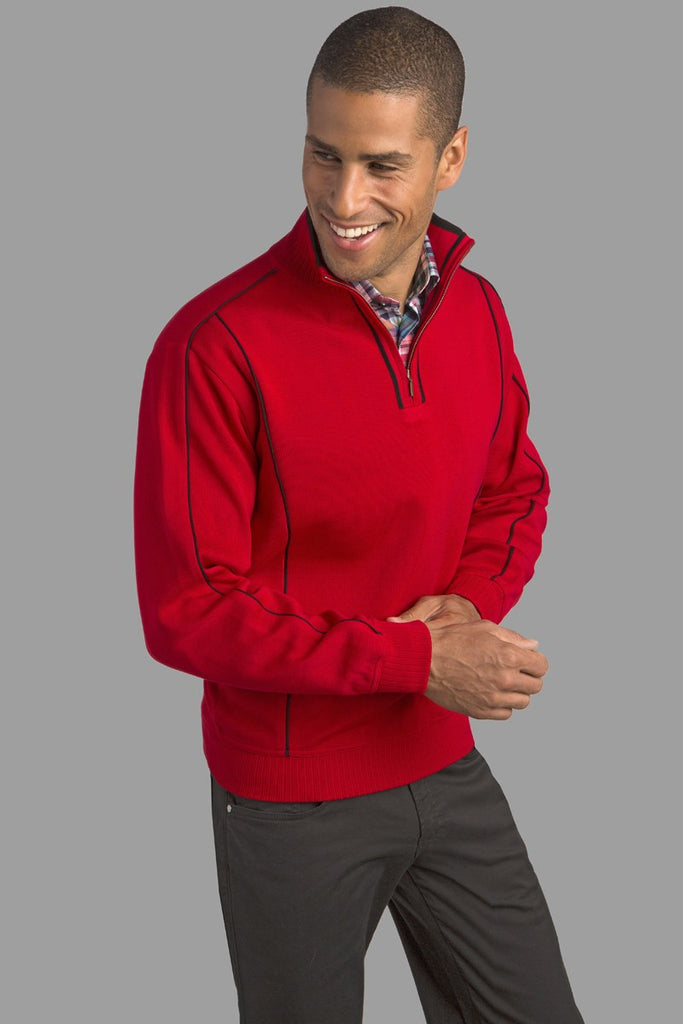 St. Croix Collections Men's Double Lock Zip Mock Sweater in Red