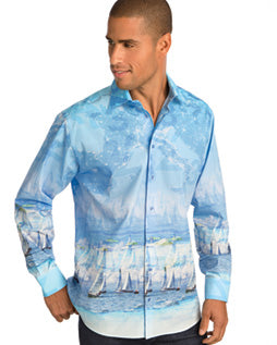 St Croix Men's Button Down Shirt in Sailboat Print - Saratoga Saddlery & International Boutiques