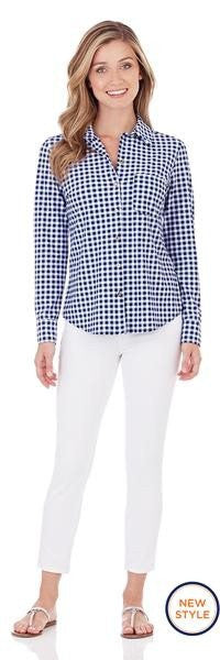 Jude Connally Taylor Shirt in Gingham Navy